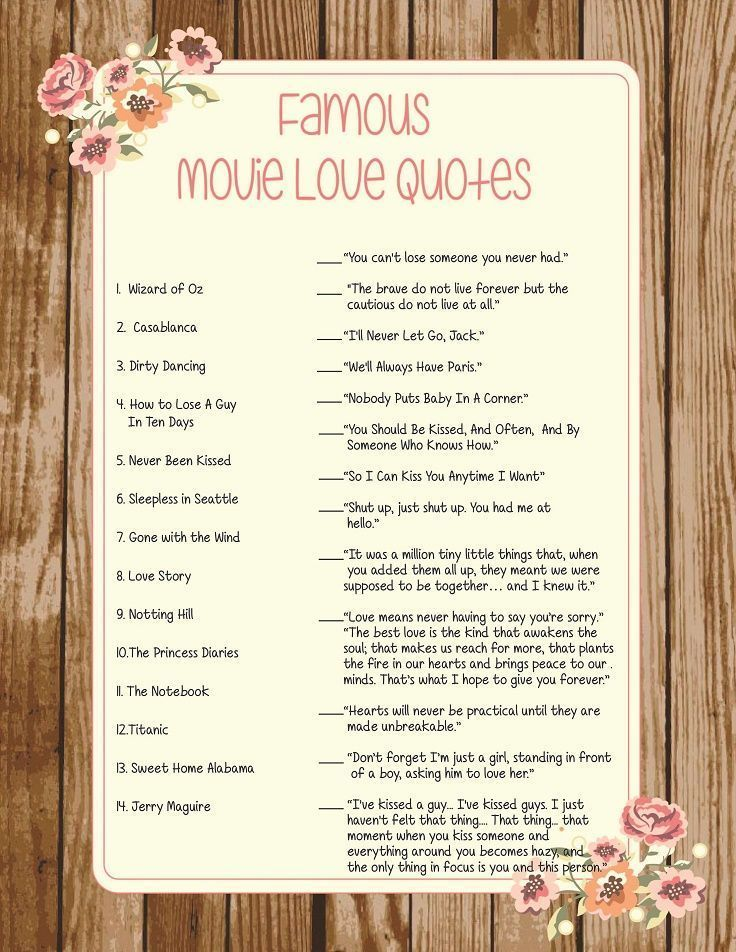 Movie Love Quotes Trivia Game - Bridal Shower and