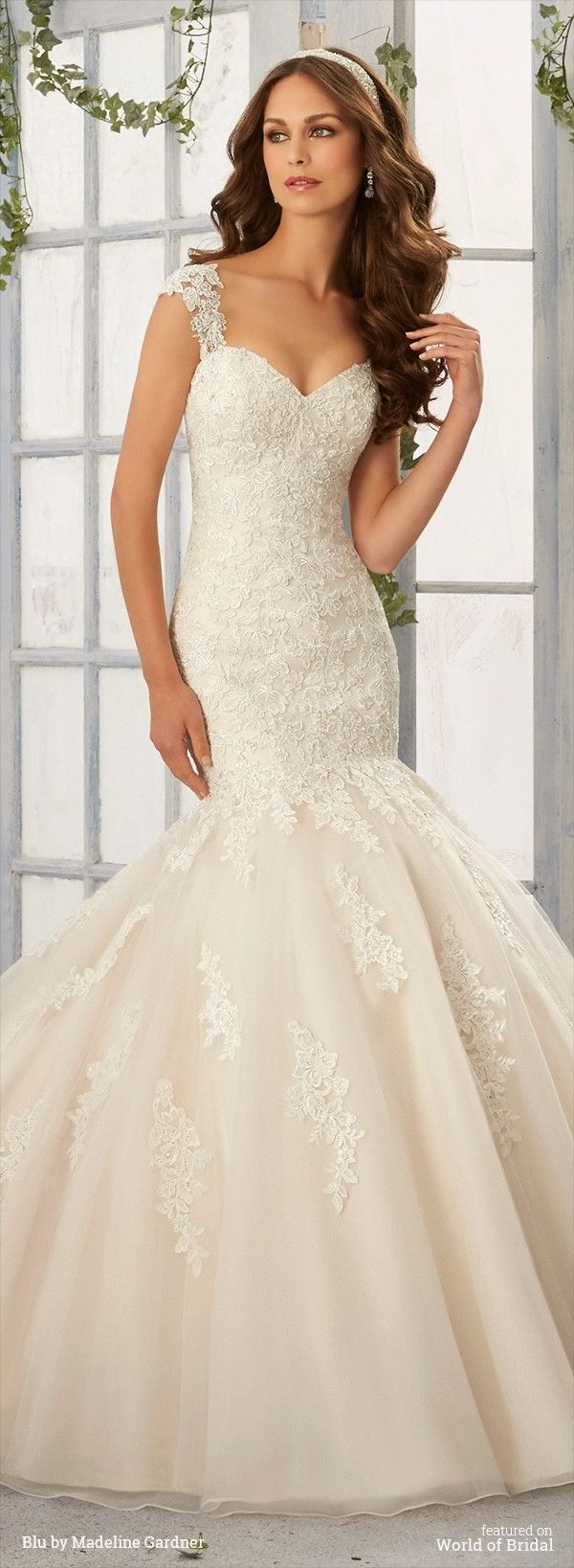 Mermaid Wedding Dresses : Alencon Lace Appliques with ...