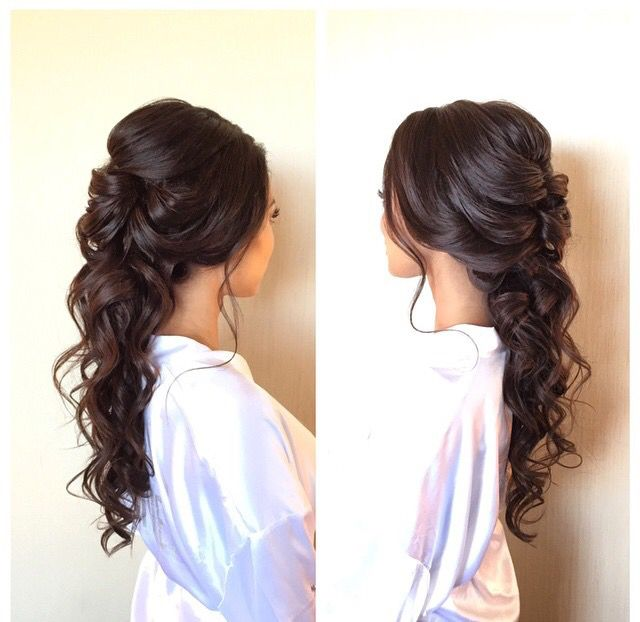 Half Up Down Wedding Hairstyles For Medium Length Hair Curly Hairstyle