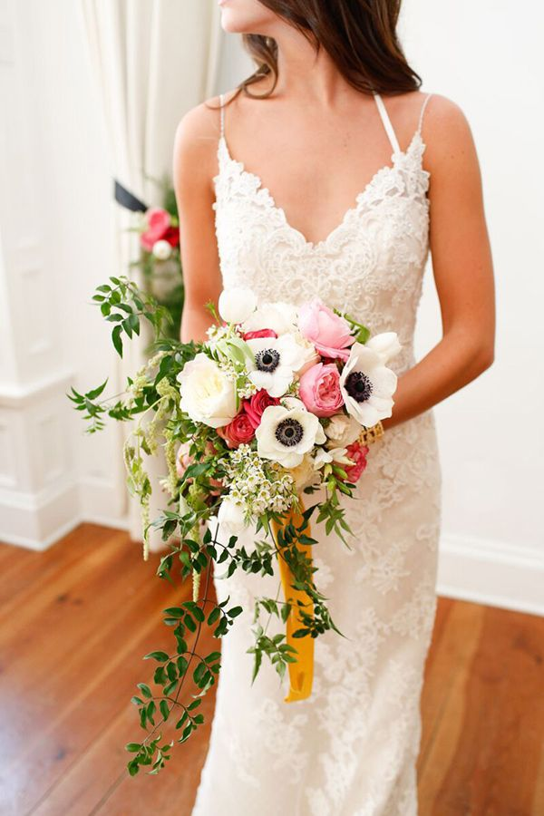 Wedding Bouquets White Poppy Wedding Bouquet With Hints Of Pink