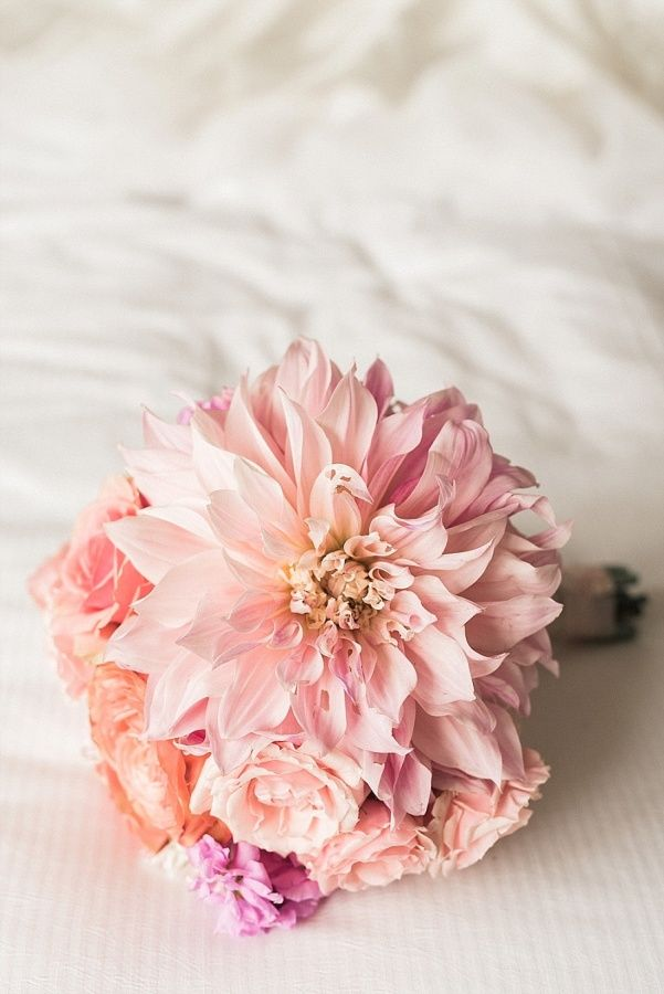 Wedding Bouquets : Blush dahlia and rose wedding bouquet ...