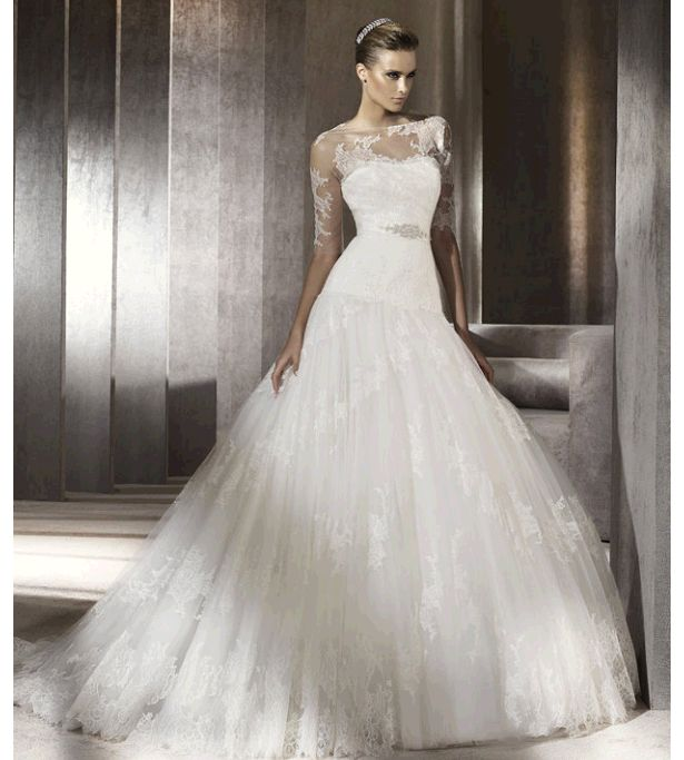 Ball Gown Wedding Dresses : OMG i knew it exisited!! lace drop-waist ballgown. Pronovias wedding ...