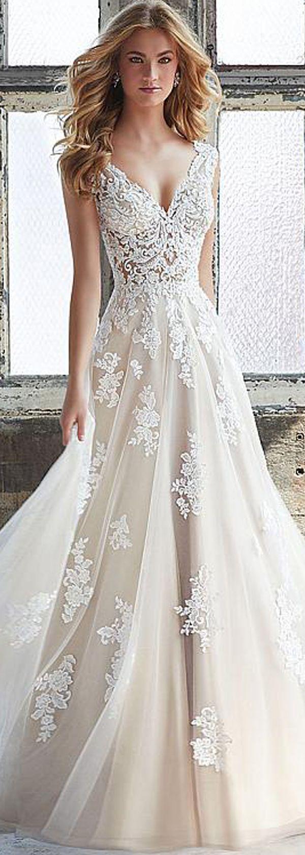 Best A-line Wedding Dresses : Glamorous Tulle V-neck ...