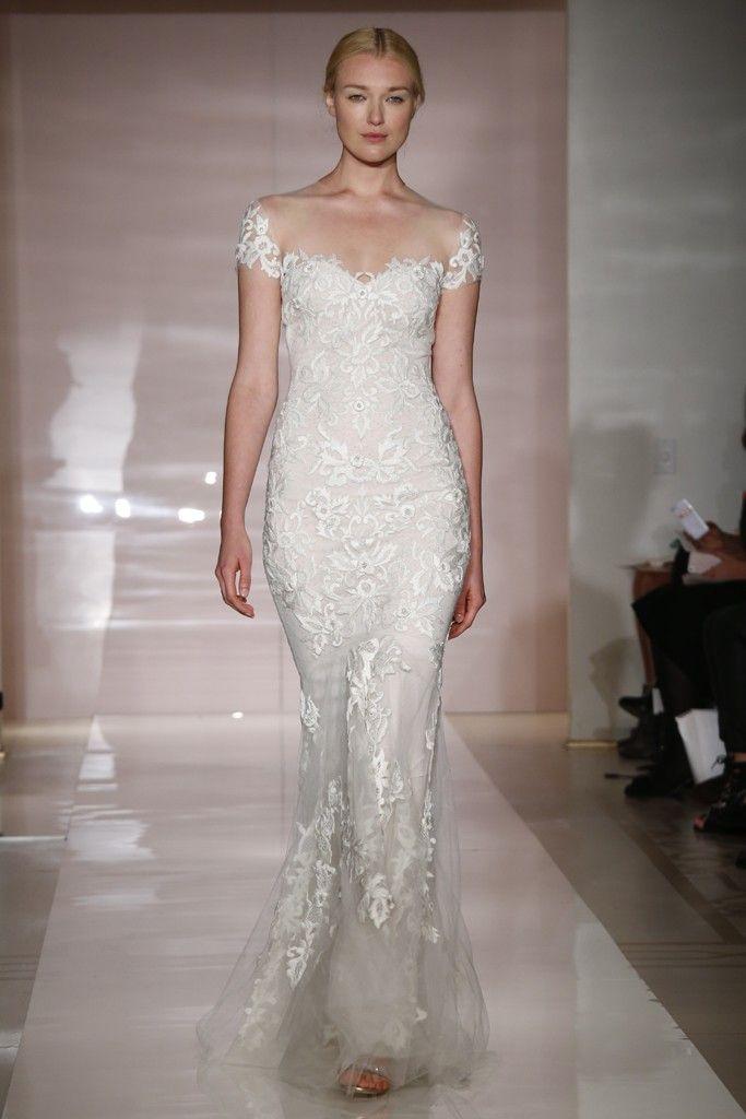 caec9f474568 Sheath Wedding Dress : Reem Acra Bridal Fall 2014 - Slideshow ...
