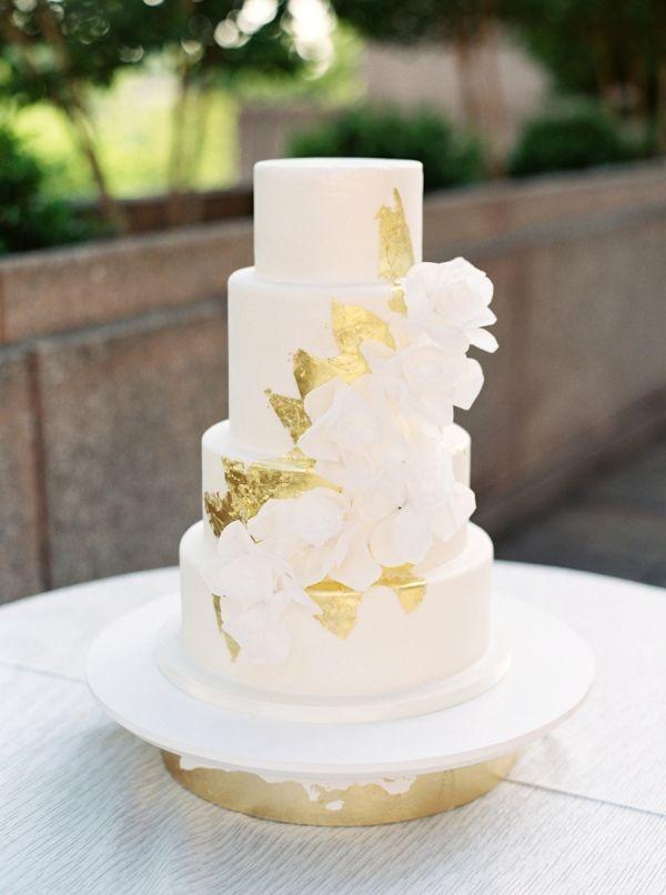 Wedding Cakes : Edible gold leaf three tier wedding cake: www.stylemepretty… Photography: Simp…