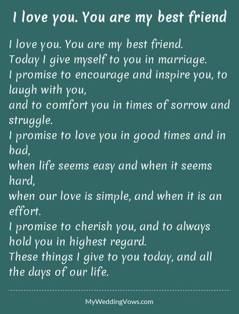 Wedding Quotes I Love You Are My Best Friend Today Give