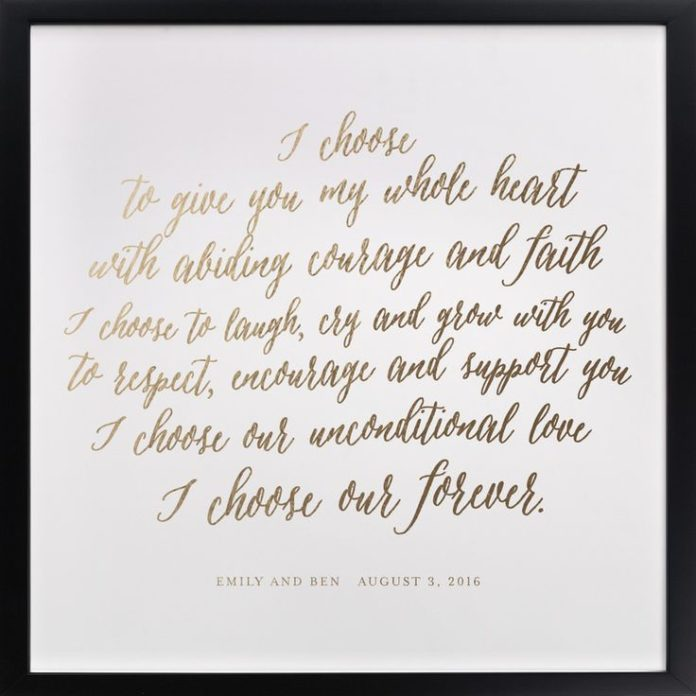 Wedding Quotes : One Year Anniversary Gift, Vows Printed