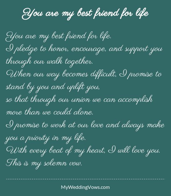 Wedding Quotes : You are my best friend for life. I pledge ...