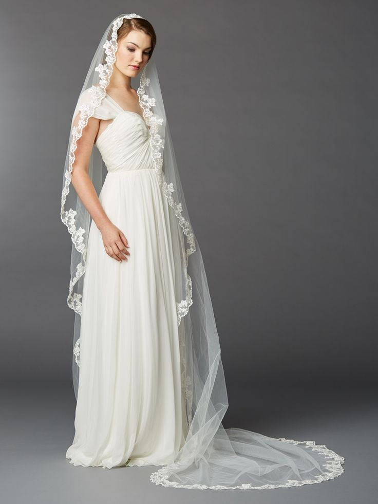 Wedding Veils Delicately Beaded Lace Mantilla Cathedral Wedding Veil 4423V