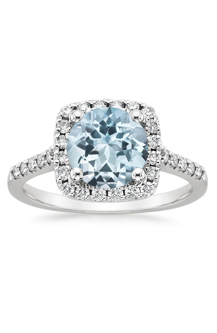 Engagement rings platinum aquamarine halo engagement for Wedding rings aquamarine
