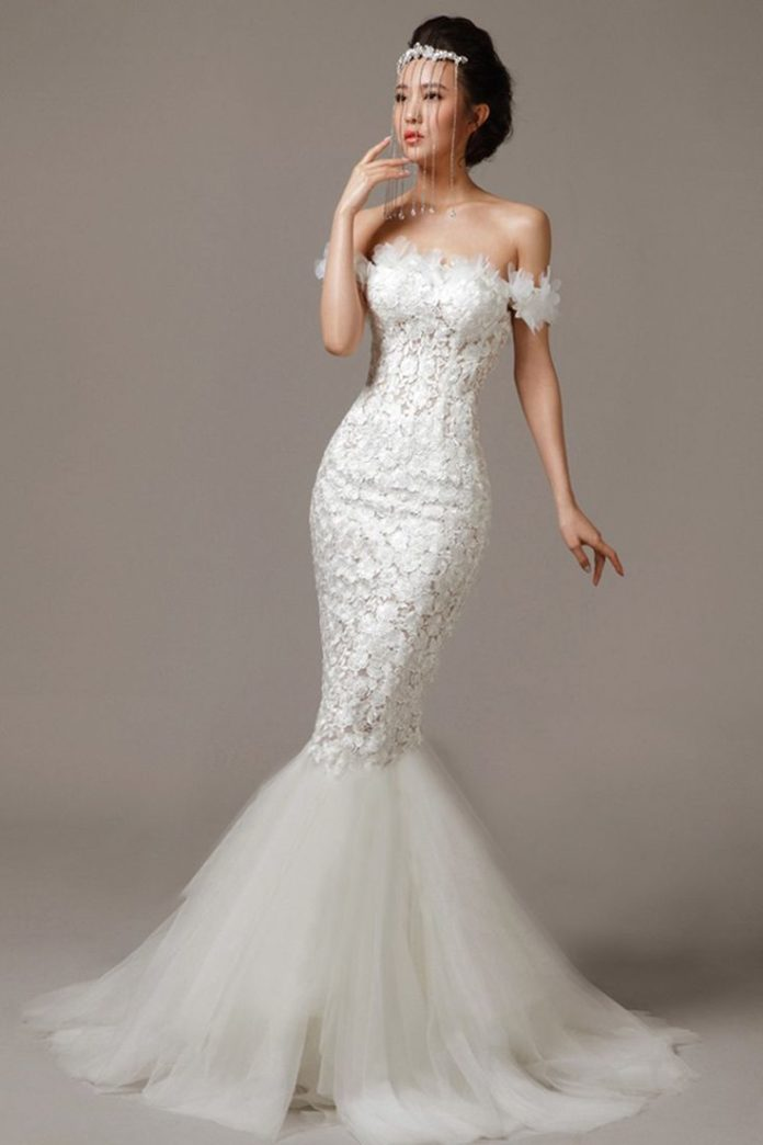 Sheath wedding dress this lace off the shoulder gown for Tulle bottom wedding dress