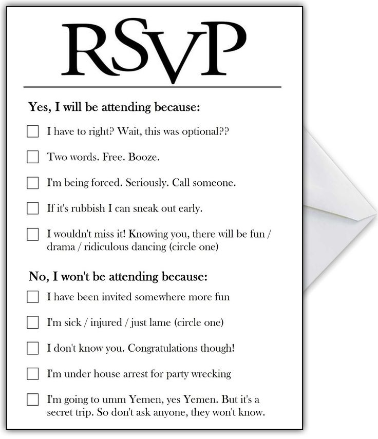 Wedding Quotes RSVP Card With Hilarious Options Or Add Your Own