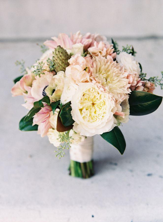 Wedding Bouquets : Pretty blush garden rose + dahlia ...