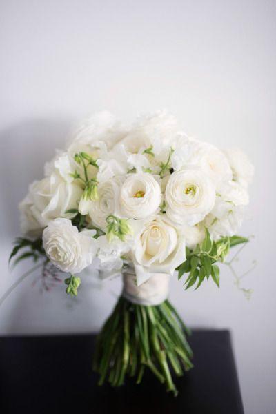 wedding inspiration google - White Garden Rose Bouquet