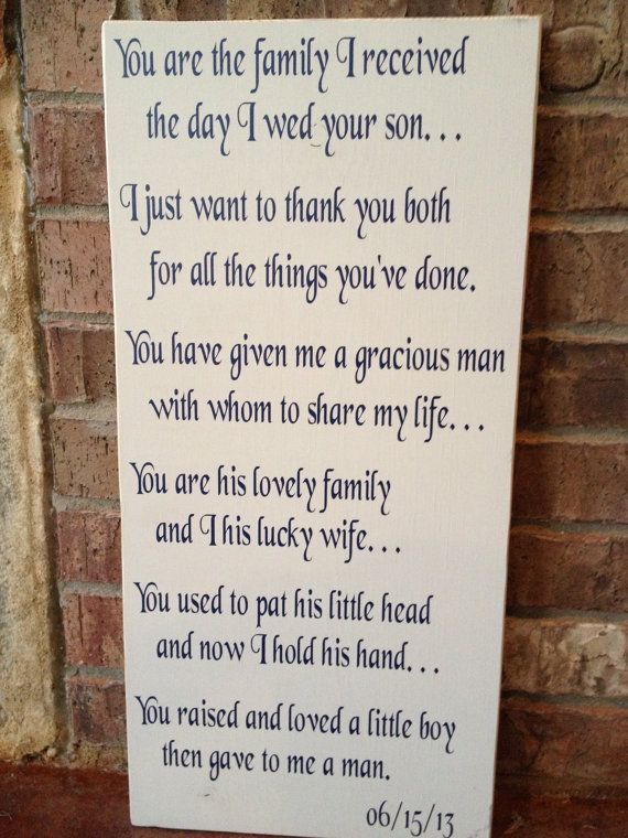 Wedding Quotes Mother In Law And Father In Law Gift By
