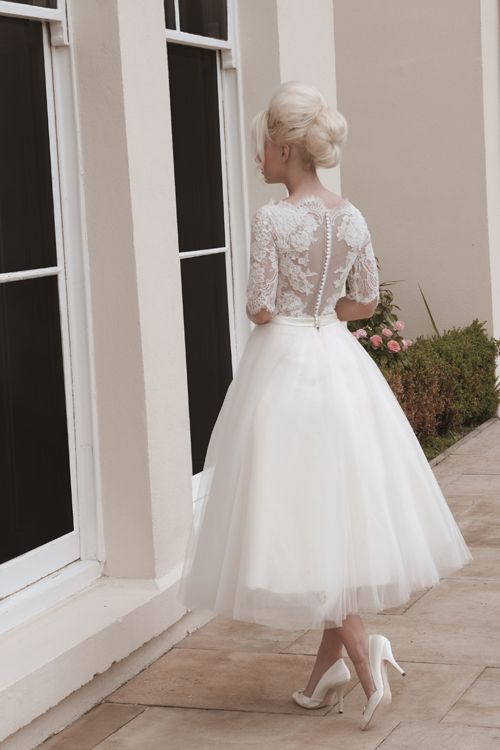 Short And Tea Length Wedding Dresses Tulle And Lace Short Calf Length Wedding Dress With Elbow Lace Sleeves Wedding Lande Leading Wedding Magazine Ideas Inspirations The Hottest New Wedding Trends