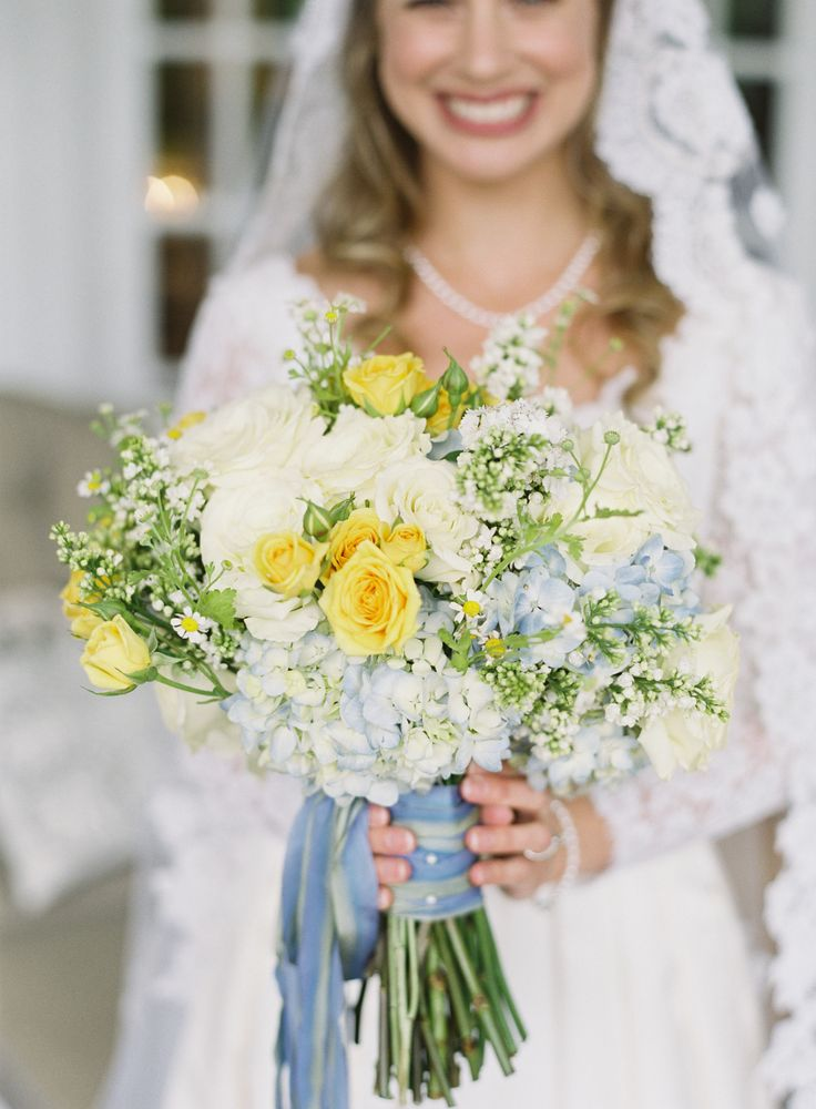 Yellow And Soft Blue Wedding Bouquet