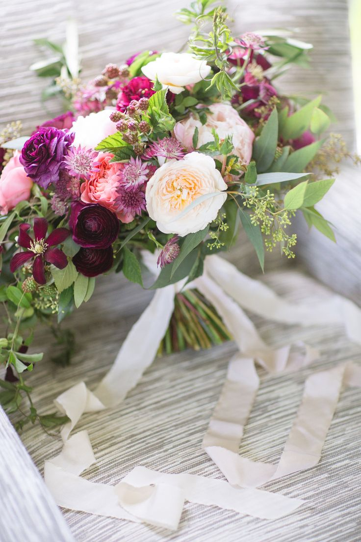 English Garden Wedding Bouquet With Purple And Cream Flowers
