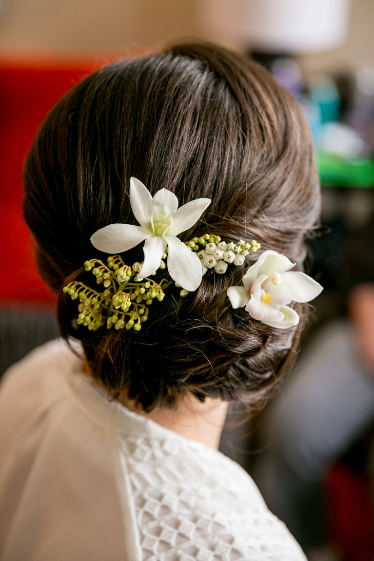 Wedding hairstyle for long hair elegant updo with white flowers wedding hairstyle for long hair mightylinksfo
