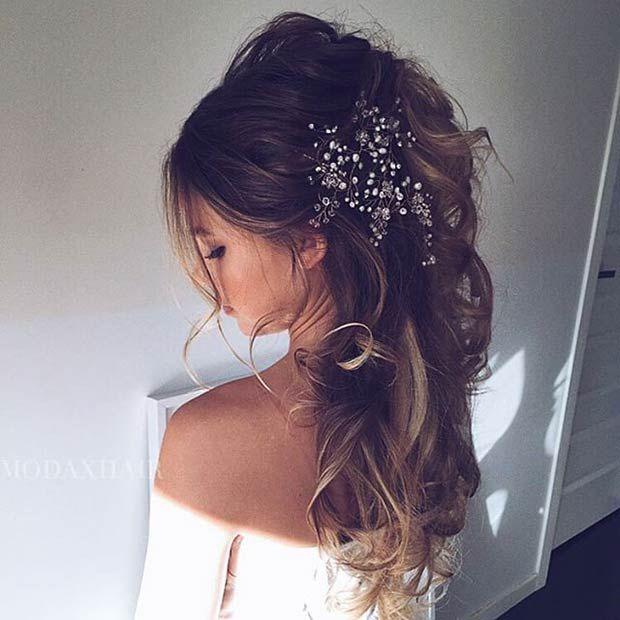 Wedding Hairstyle For Long Hair Messy Half Updo Big Hair