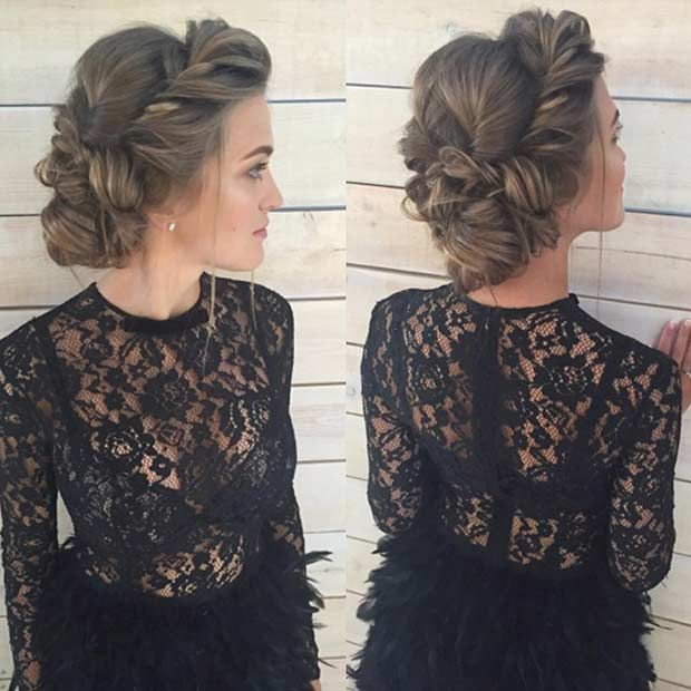 Wedding Hairstyle For Long Hair Romantic Twisted Updo Wedding