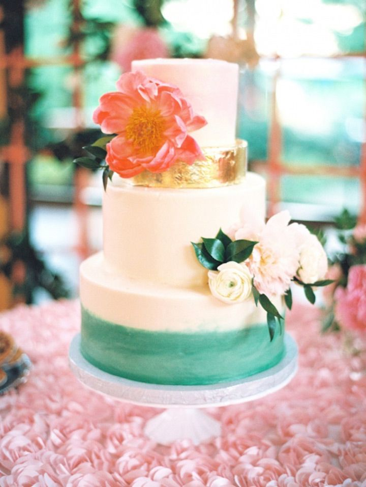 Wedding Cakes Pink Green And Gold Wedding Cake We This