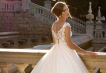Best a line wedding dresses new elegant tulle lace v neck
