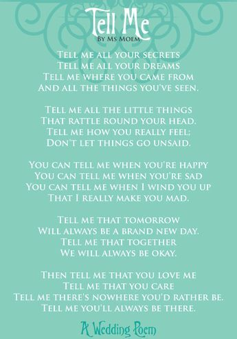 Wedding Quotes Tell Me A Wedding Poem Ms Moem Poems Life
