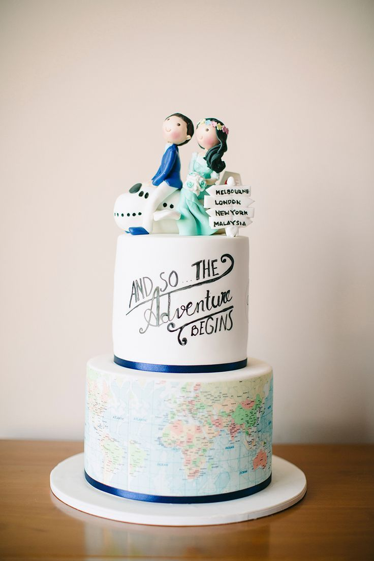 Wedding Quotes : A travel-themed two-tiered wedding cake ...